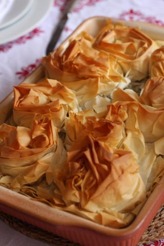 Roast veg under Phyllo