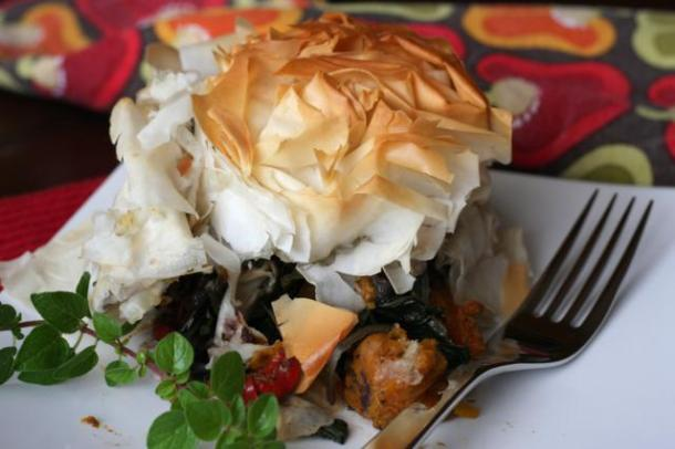 Roast veg under Filo